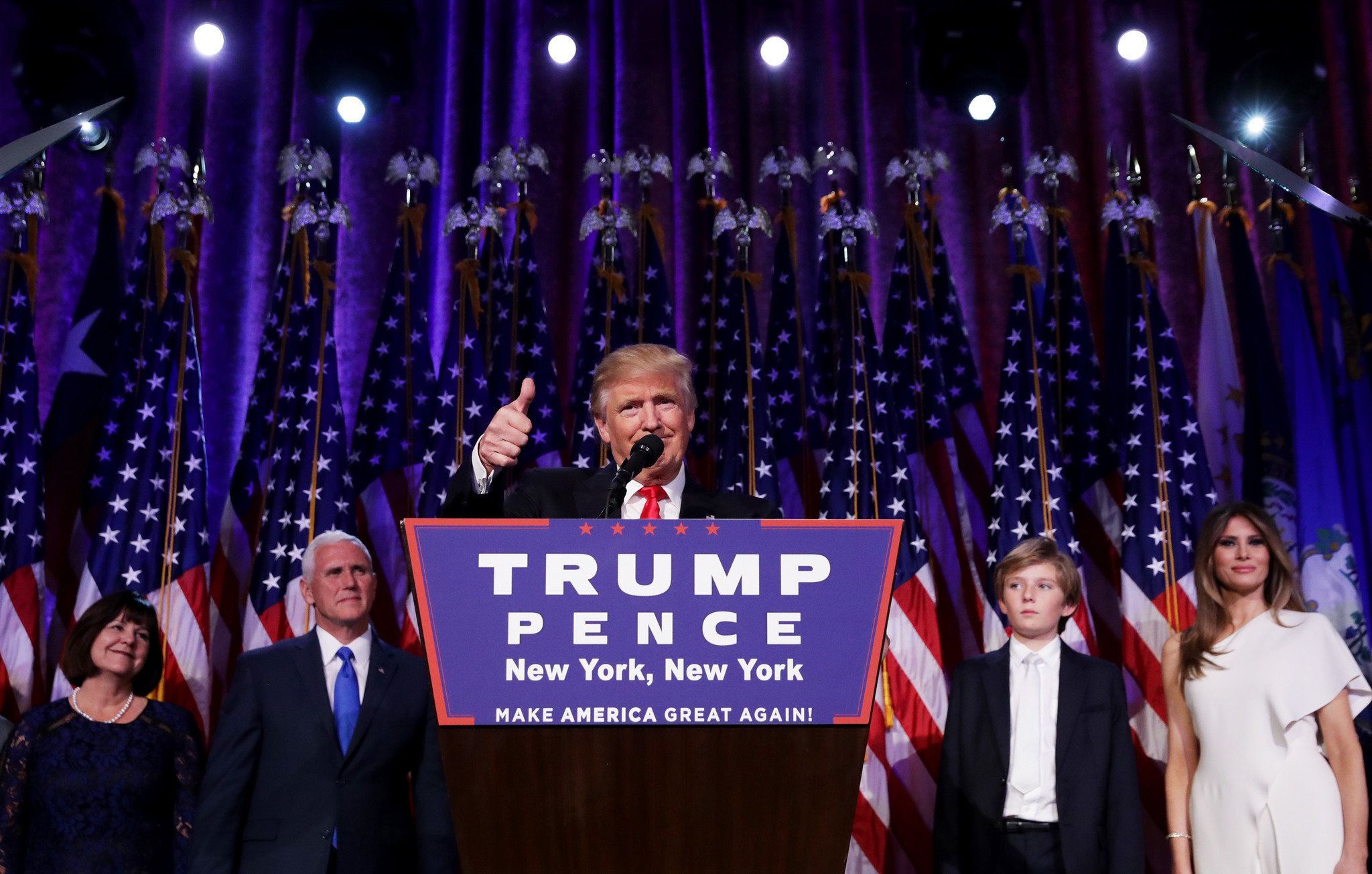 Donald Trump delivers his acceptance speech at the New York Hilton Midtown on election night in November.