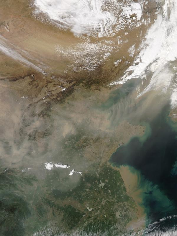 Dust plumes blow out of the Gobi Desert, with dust spreading over large swaths of eastern China and beyond on April 27, 2012.