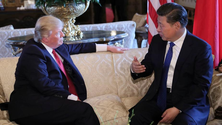 Chinese President Xi Jinping meets with Donald Trump at Mar-a-Lago in Palm Beach, Florida on April 6th. — Photograph: Xinhua/TNS.