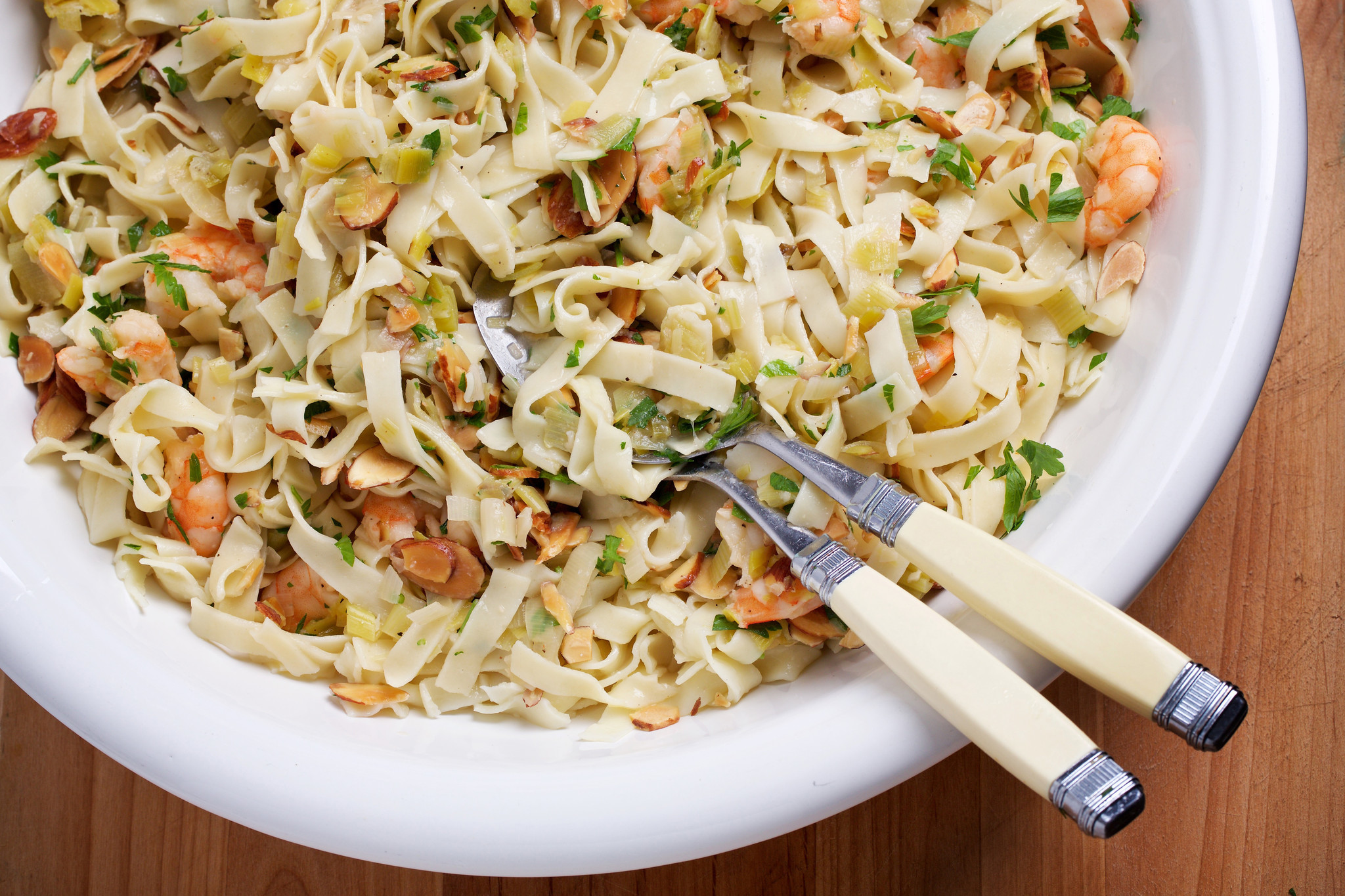 This pasta dish, starring summer leeks and shrimp, tastes good at any temperature