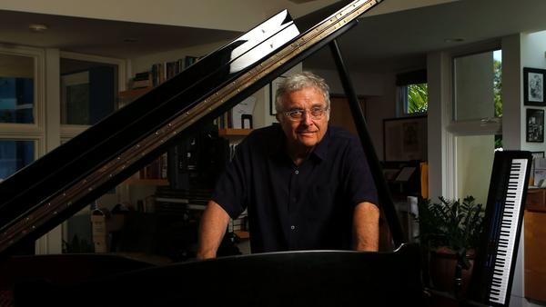 Randy Newman, photographed at his home in Pacific Palisades, held court for a small audience of music industry guests Thursday in West Los Angeles (Mel Melcon / Los Angeles Times)