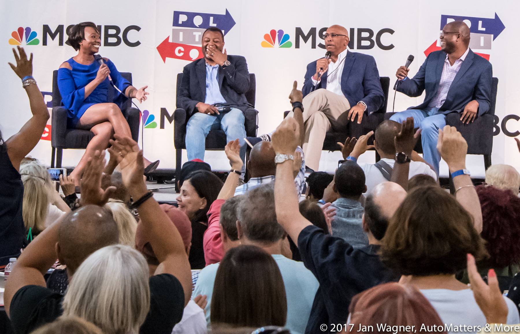Joy Reid, Krystal Ball, Malcolm Nance & Michael Steele with their appreciative and enthusiastic audience.