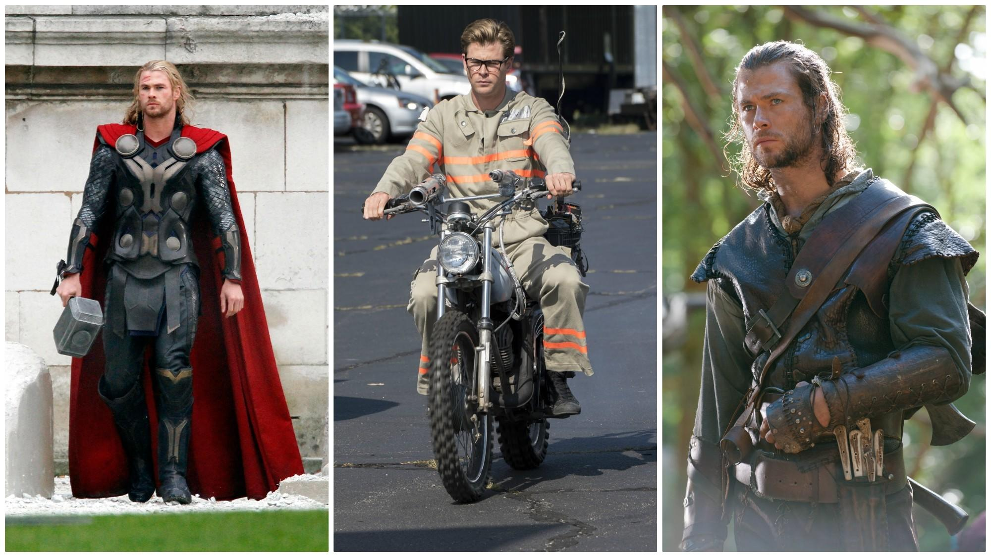 "From left, Hemsworth as Thor (scent profile: ""an intense, nighttime, stormy version of Boss Bottled""); Kevin the receptionist from ""Ghostbusters,"" 2016 (scent profile: ""marshmallows""); and the Huntsman from ""Snow White and the Huntsman,"" 2012 (""a stormy mountain scent"")."