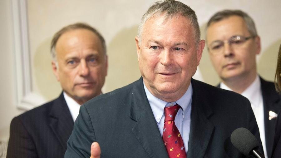 Rep. Dana Rohrabacher (R-Costa Mesa) speaks to Russian lawmakers at a meeting in Moscow in May 2013. (Misha Japaridze / Associated Press)