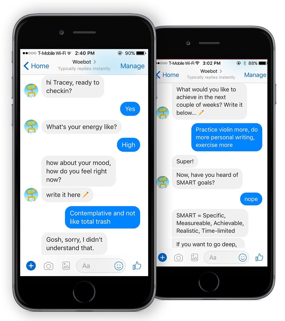 Screenshots of Woebot checking in with a reporter.