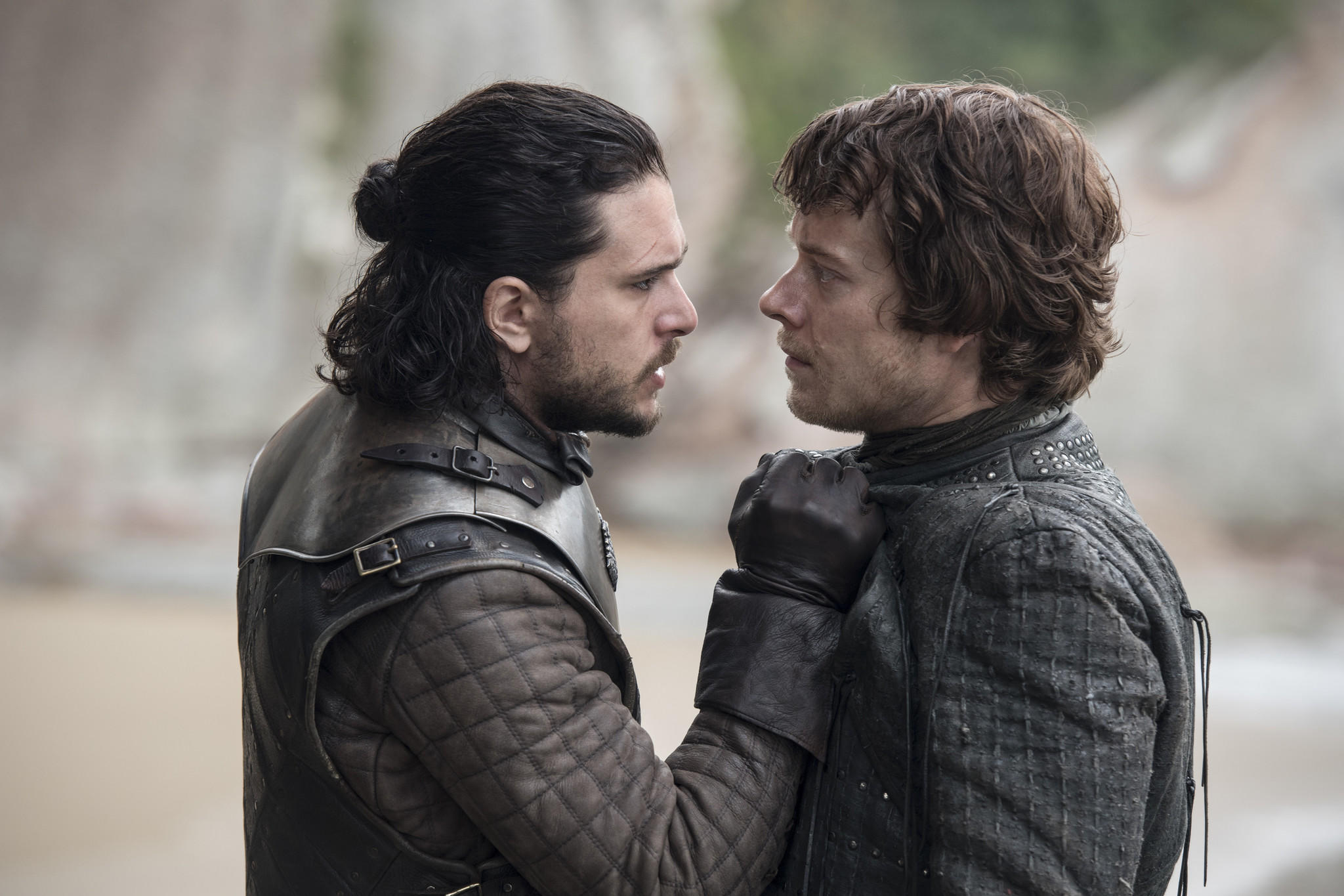 """Game of Thrones"" episodes have repeatedly leaked throughout Season 7, with the latest coming from HBO itself. Above, Kit Harrington, left, as Jon Snow and Alfie Allen as Theon Greyjoy. (Macall B. Polay / HBO)"