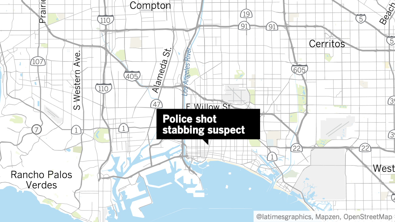 the best attitude b418b 2e667 Long Beach police shot a man late Sunday night who was holding a woman  hostage and is suspected of stabbing another woman, authorities said.