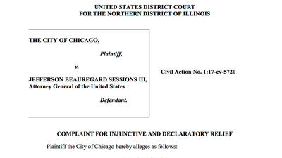 Full text of Chicago's lawsuit against the Justice Department