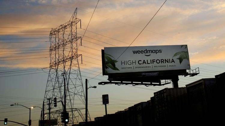 A billboard advertising marijuana products near Maywood. Some residents in the small city are agains