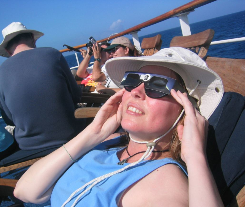 Kate Russo, aboard the Galapagos Legend, views the 2005 total eclipse in the Pacific.