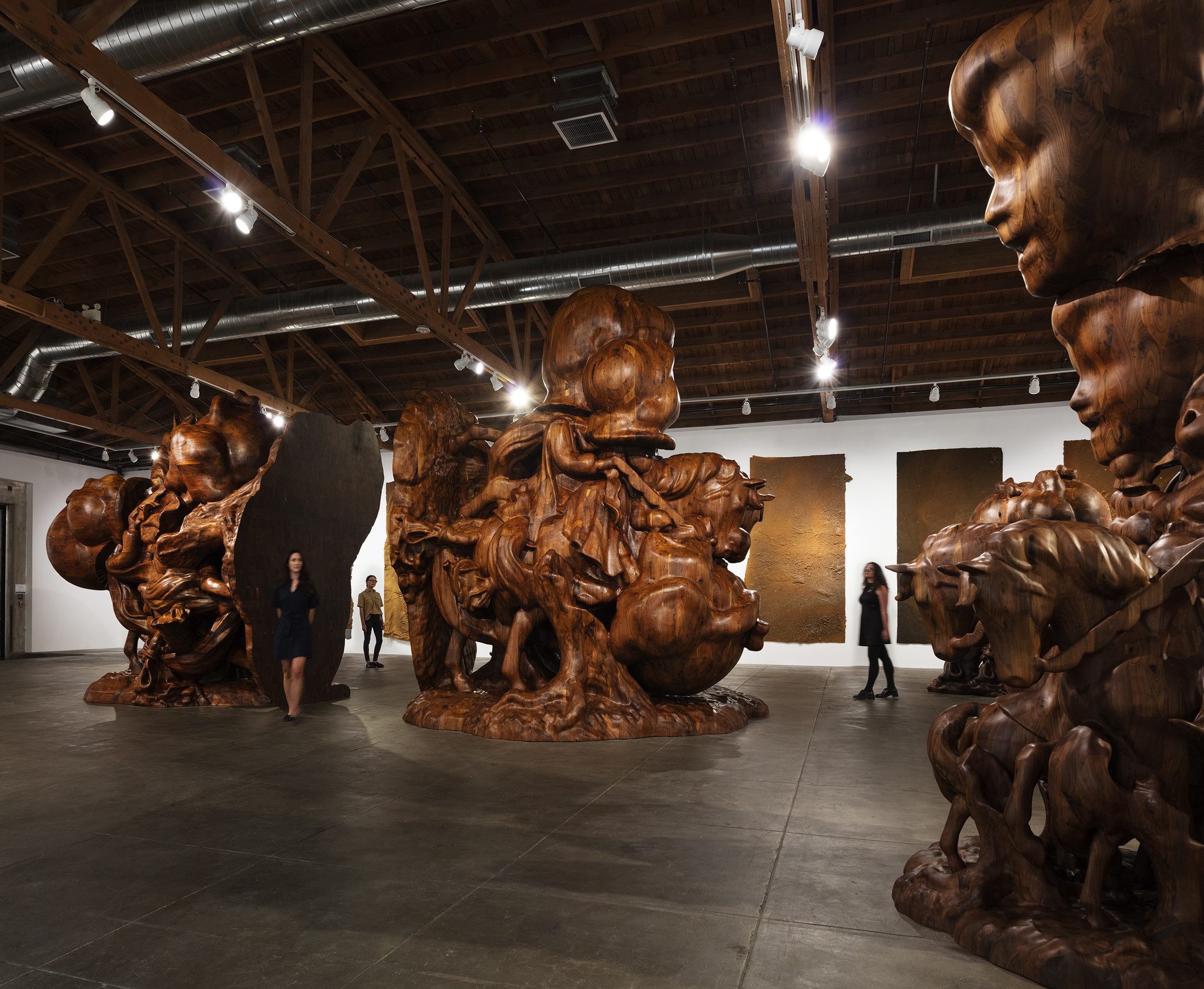 "Installation view of ""Paul McCarthy. WS Spinoffs, Wood Statues, Brown Rothkos"" at Hauser & Wirth."