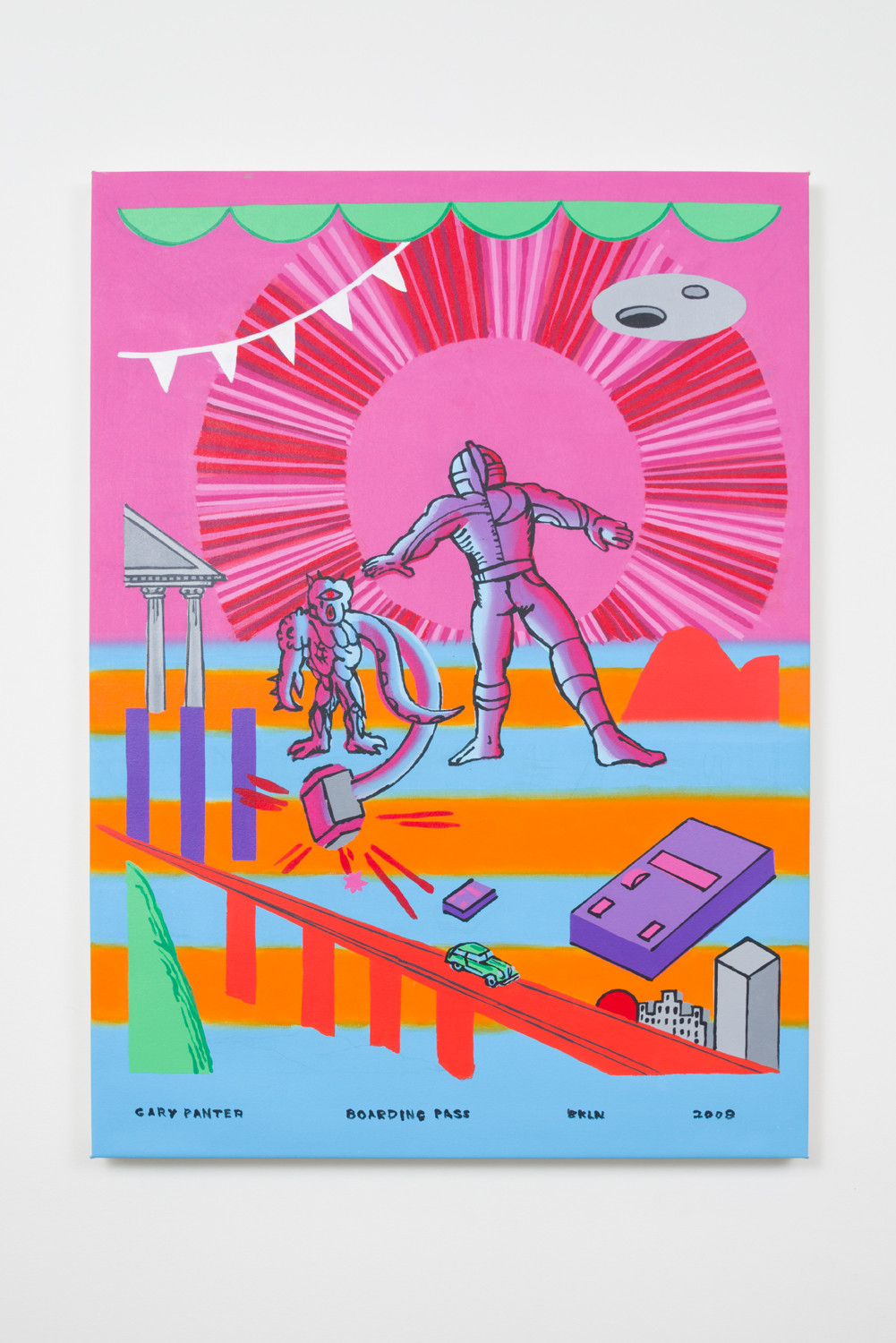 """Gary Panter's """"Boarding Pass,"""" 2008, acrylic on canvas, 48.5 inches by 35.5 inches"""