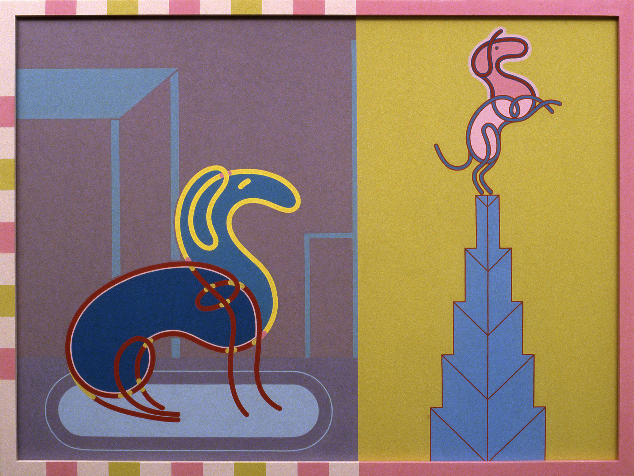"""Barbara Rossi's """"Dog Gone Heads or Tails (Dog-Matic),"""" 1982, acrylic on Masonite panel in artist's frame, 36 inches by 48 inches by 2 inches"""