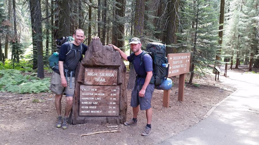 Brian McKinney and Sam Vonderheide, right, hiked the High Sierra Trail in Sequoia National Park during an 11-day journey to Mount Whitney. — Photograph: Sam Vonderheide.
