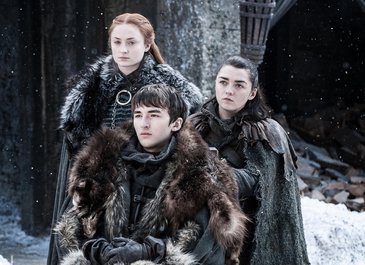 Sansa (Sophie Turner), left, Bran (Isaac Hempstead Wright) and Arya (Maisie Williams) have been reunited in Winterfell. (Helen Sloan / HBO)