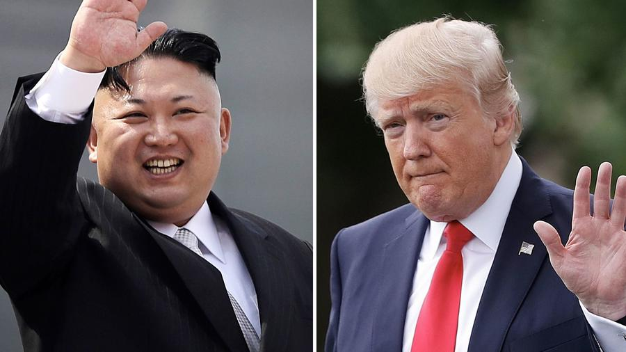 "North Korean leader Kim Jong Un described President Trump as ""a rogue and a gangster fond of playing with fire"". — Photographs: Wong Maye-E (left), Pablo Martinez Monsivais (right)/Associated Press."