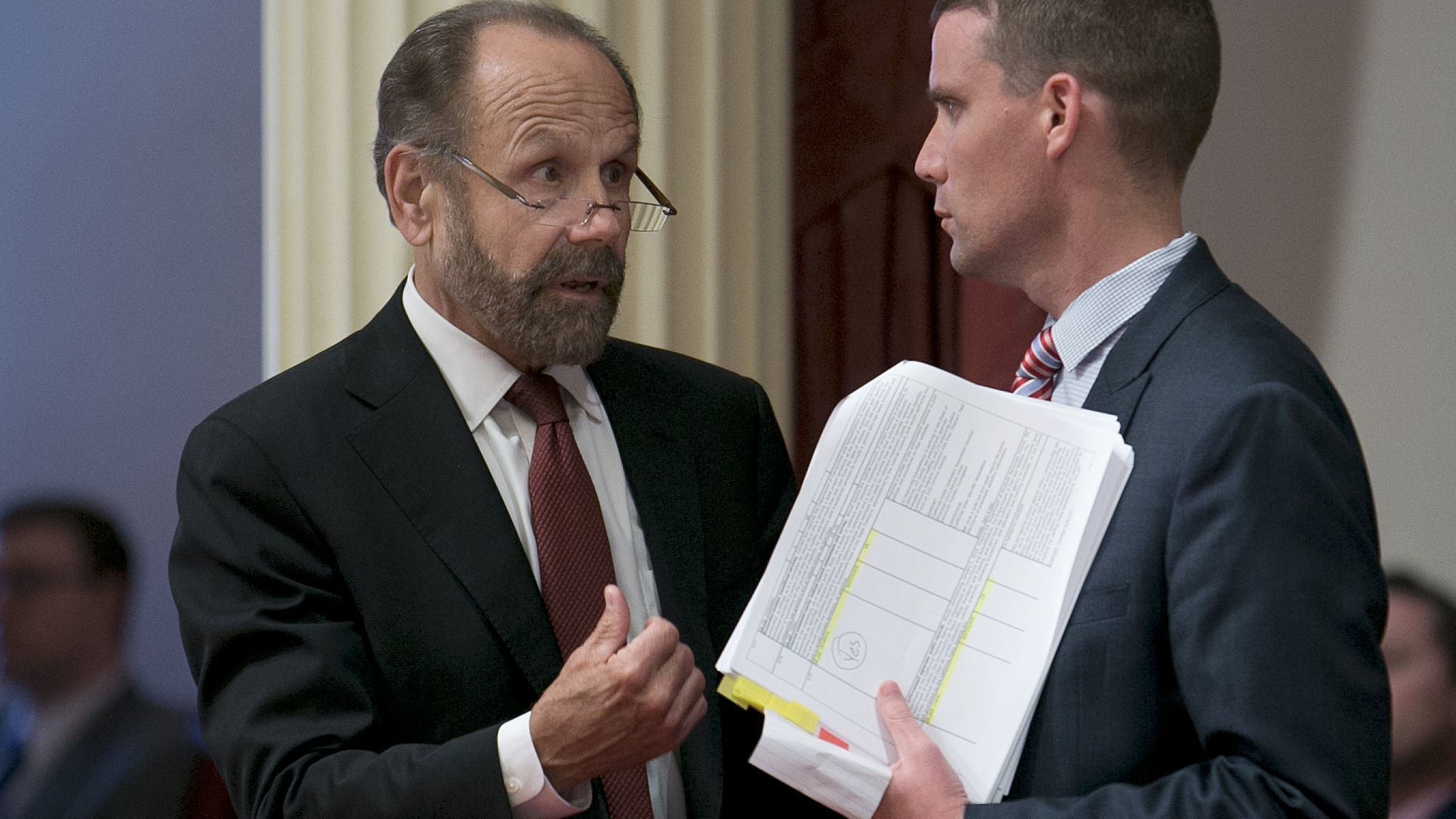 A new proposal by state Sen. Jerry Hill (D-San Mateo), left, would expand the state's transparency laws on StingRays and extend it to all surveillance devices.