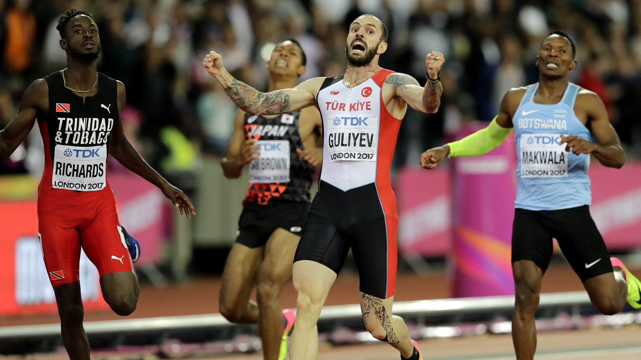 Ramil Guliyev pulls off stunning win in men's 200 meters at world track championships
