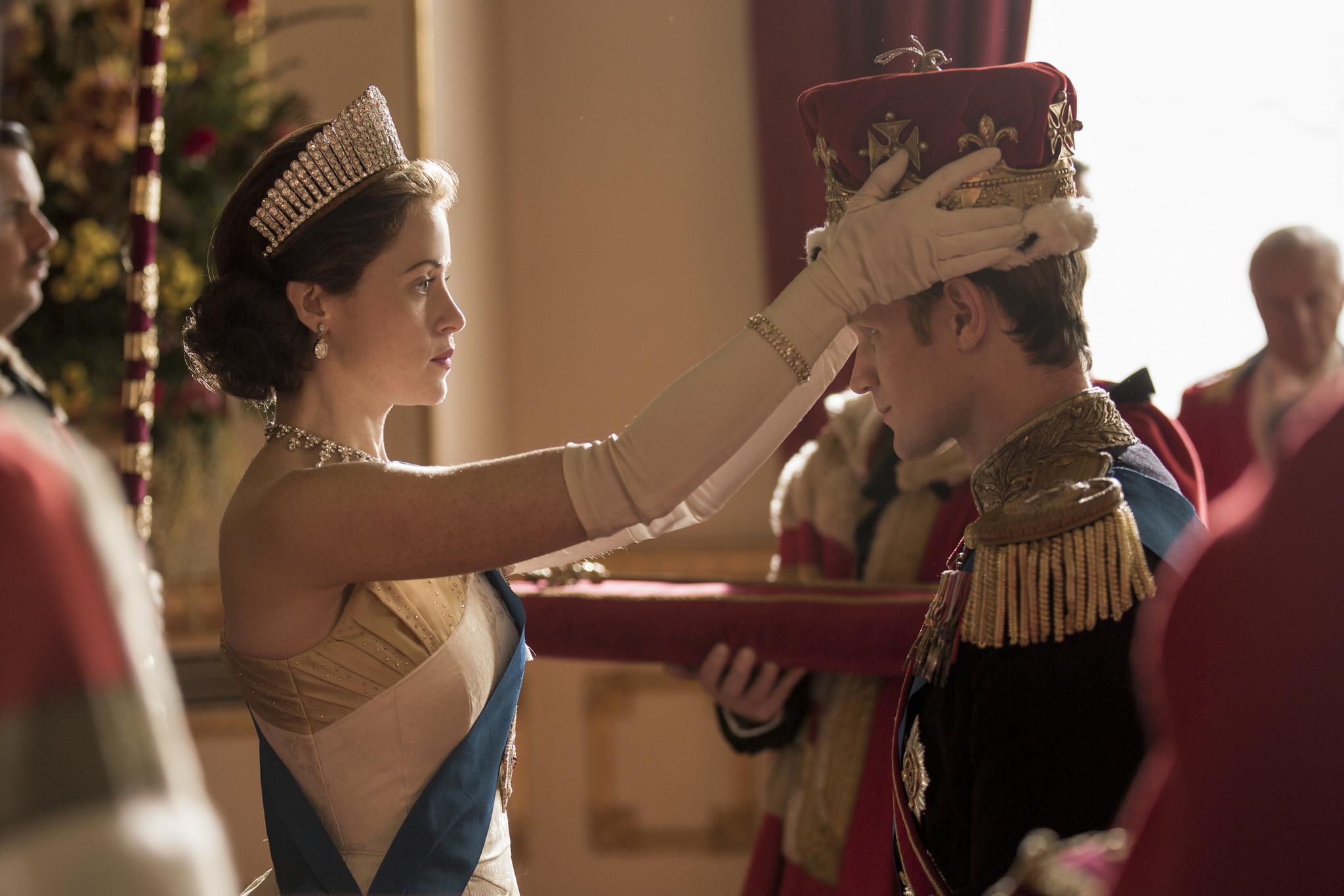 "Queen Elizabeth II (Claire Foy) formally makes Philip (Matt Smith) a British prince in Season 2 of Netflix's ""The Crown."" (Robert Viglasky / Netflix)"
