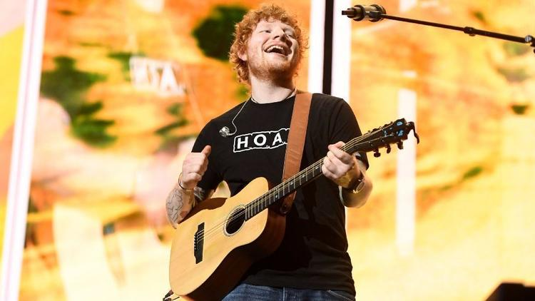 Ed Sheeran, performing in Los Angeles in August, has logged 6.3 billion streams on Spotify this year. (Wally Skalij / Los Angeles Times)