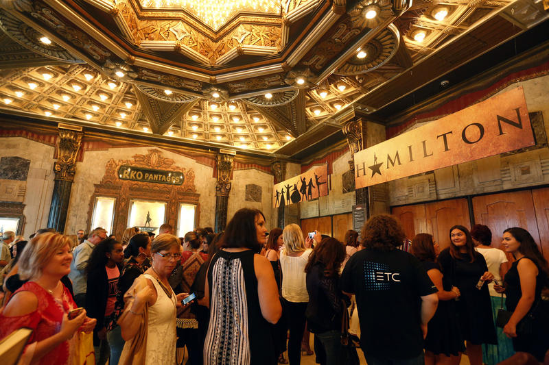 """The Pantages lobby during previews of  """"Hamilton"""" in August, 2017. (Genaro Molina / Los Angeles Times)"""