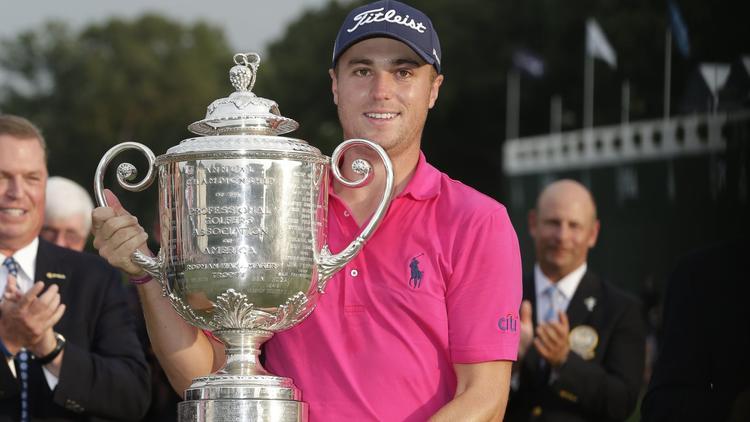 Justin Thomas with PGA trophy
