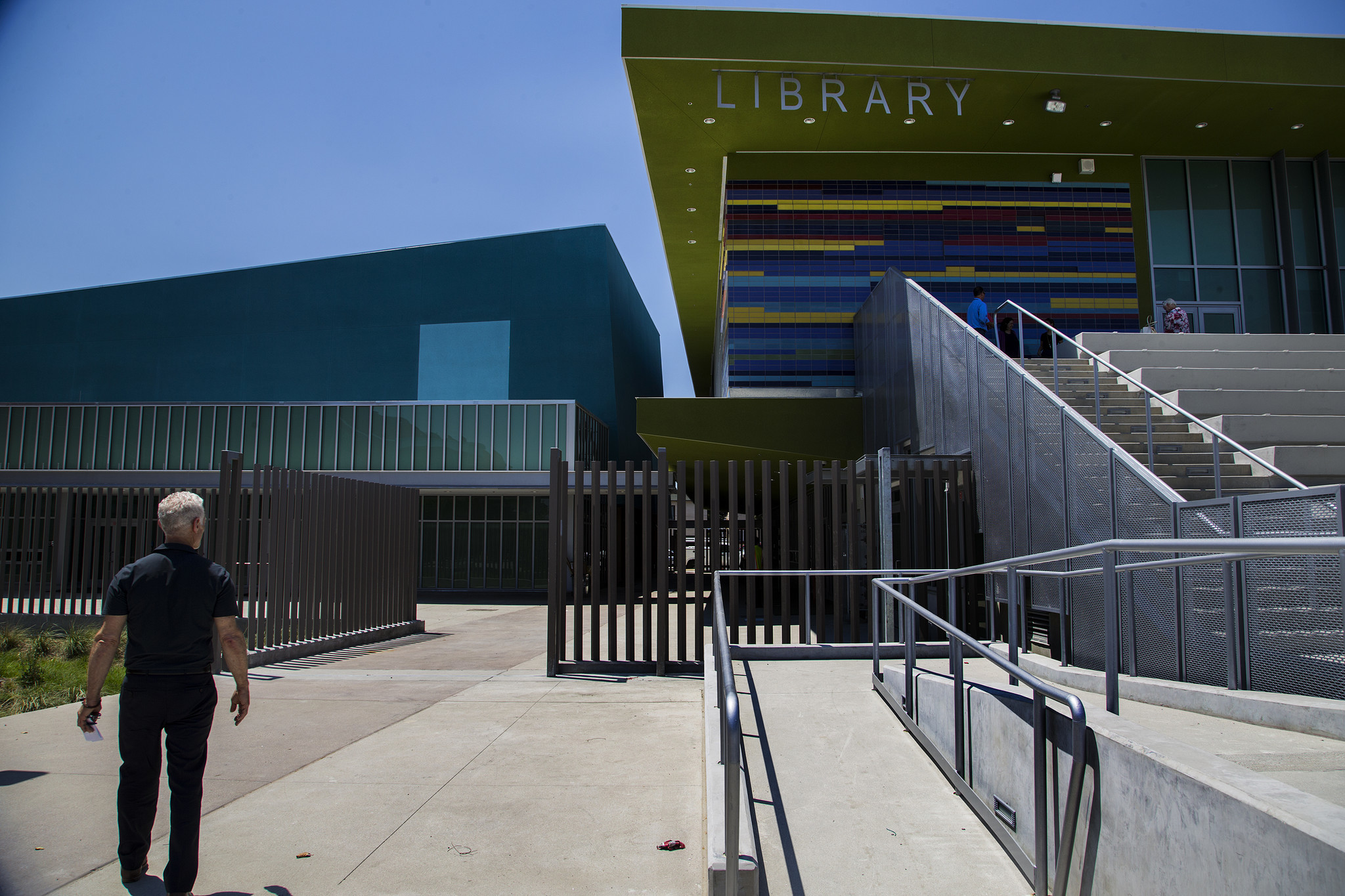 Architect Ben Levin of DLR Group walks through the new Maywood campus, which opens Tuesday.