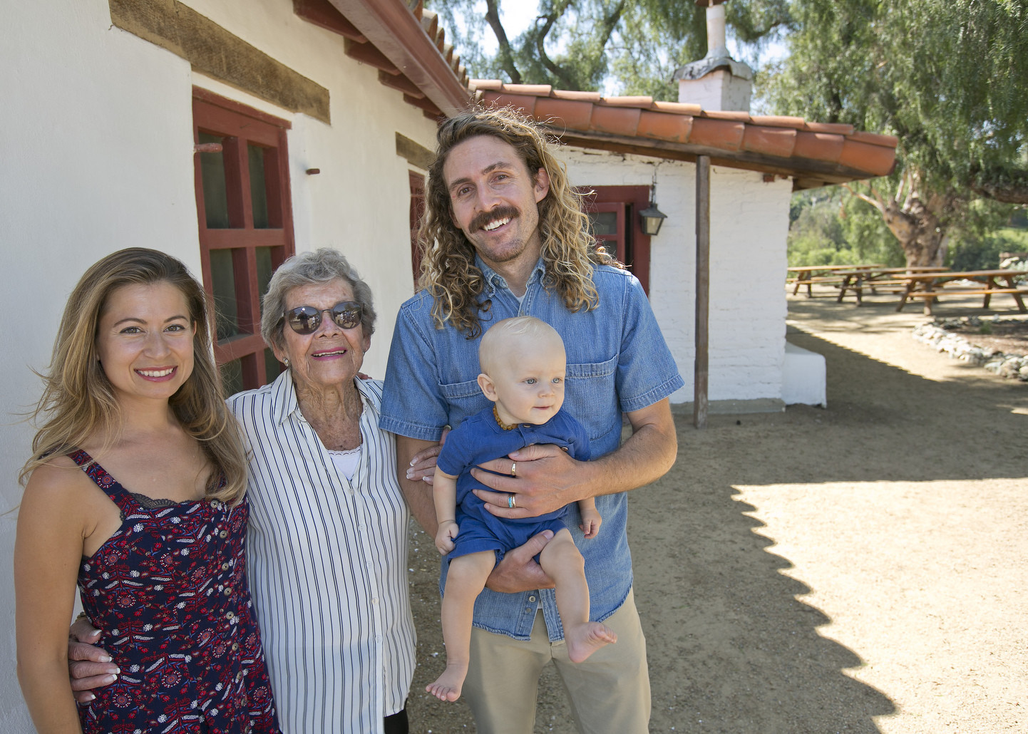 Marie Lawson with grandson Nate Larson, his wife Susan and her great-grandson Russell.