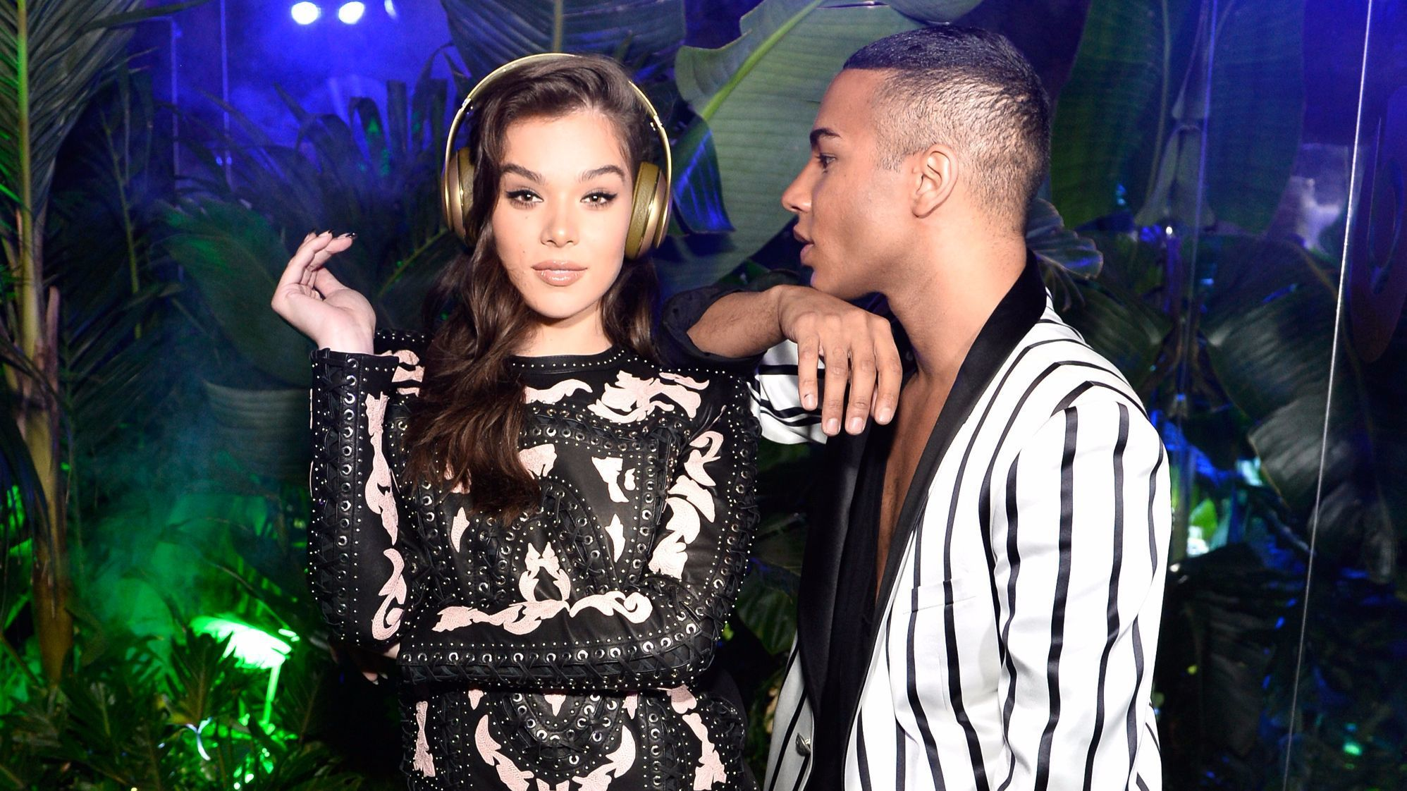 Actress Hailee Steinfeld and Balmain creative director Olivier Rousteing at the Balmain and Beats by Dre collaboration party in Beverly Hills.