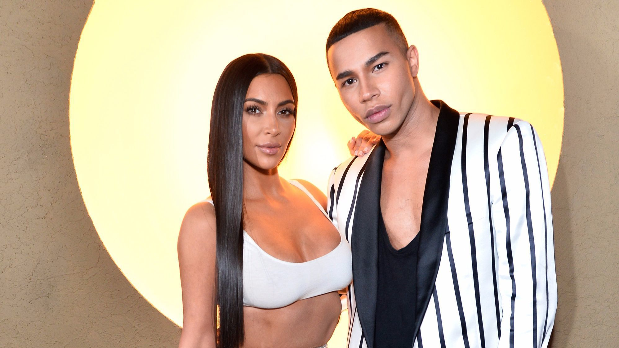 Kim Kardashian West and Olivier Rousteing at  at the Balmain and Beats by Dre collaboration party in Beverly Hills.