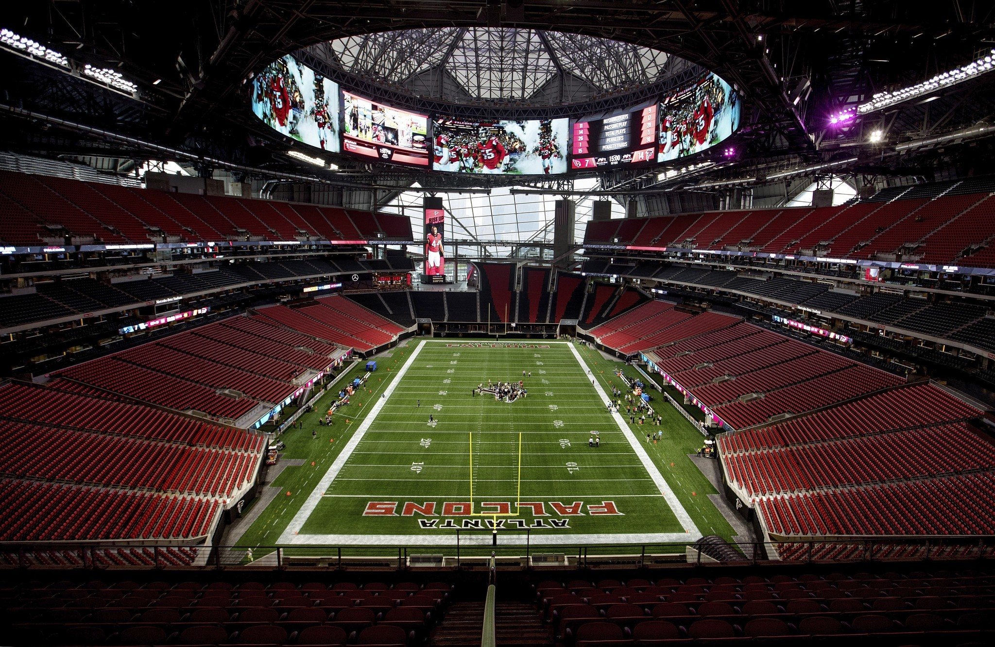The falcons 39 new stadium has a chick fil a which won 39 t be for Mercedes benz stadium will call location