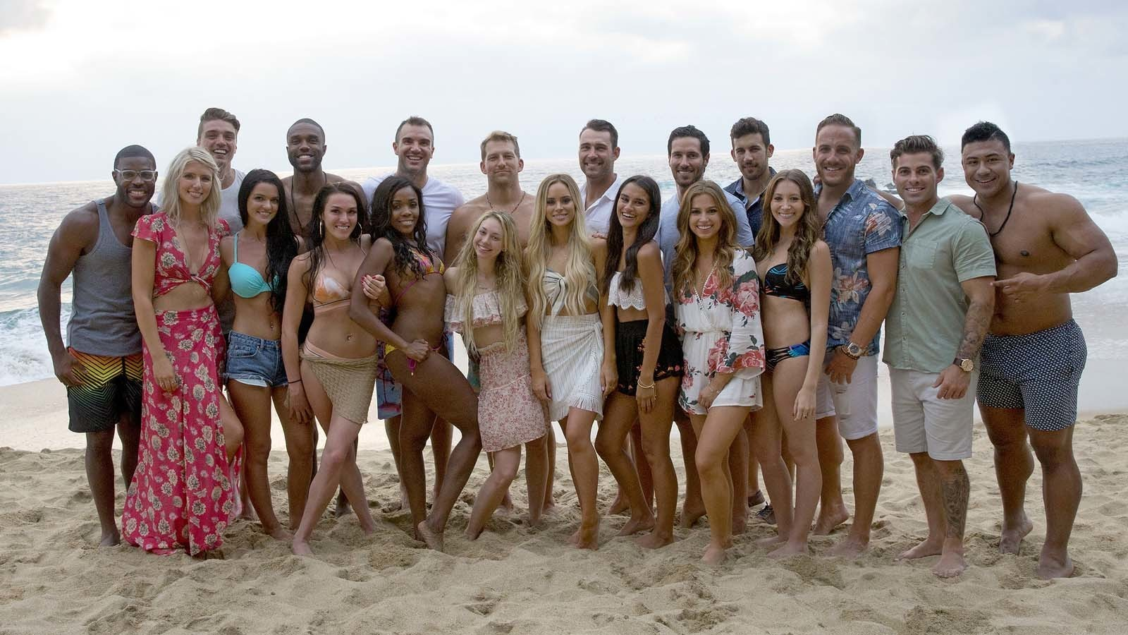 "Season 4 of ""Bachelor in Paradise"" premiered Monday. DeMario Jackson is third from left in the back row and Corinne Olympios is fifth from left in the front. (Paul Hebert / ABC)"