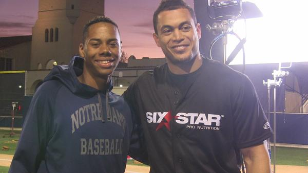 Giancarlo Stanton (right) and Hunter Greene in a 2016 photo at Sherman Oaks Notre Dame. (Eric Sondheimer)