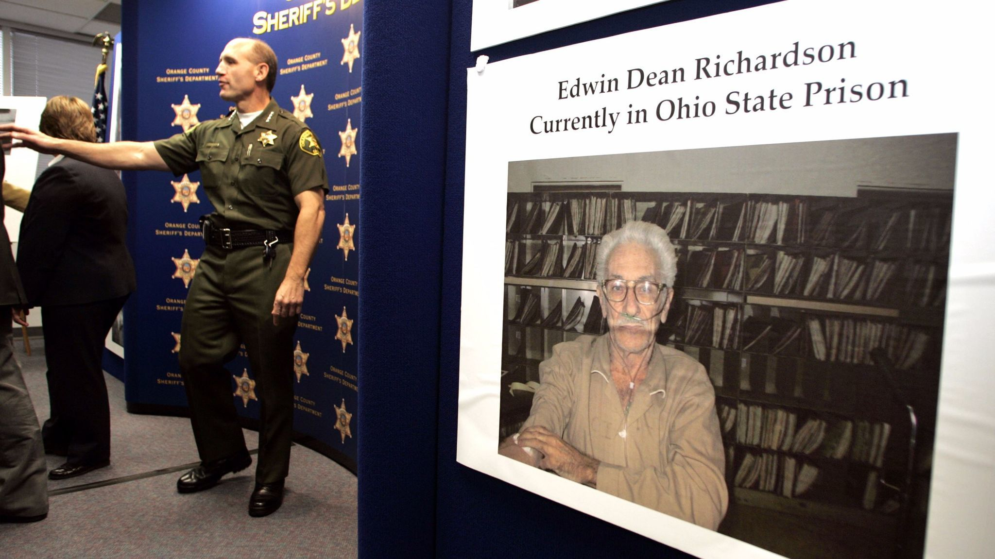 A photo of Edwin Dean Richardson displayed at a news conference held by the Orange County Sheriff's Department in 2004, after investigators there used DNA to link him to the 1972 slaying of Marla Jean Hires.