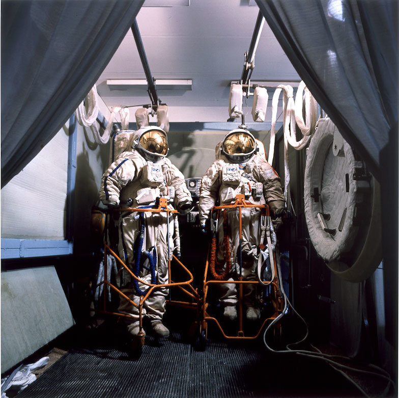 """Cosmonaut Suits, Star City,"" by Jane and Louise Wilson, at C. Nichols Projects."