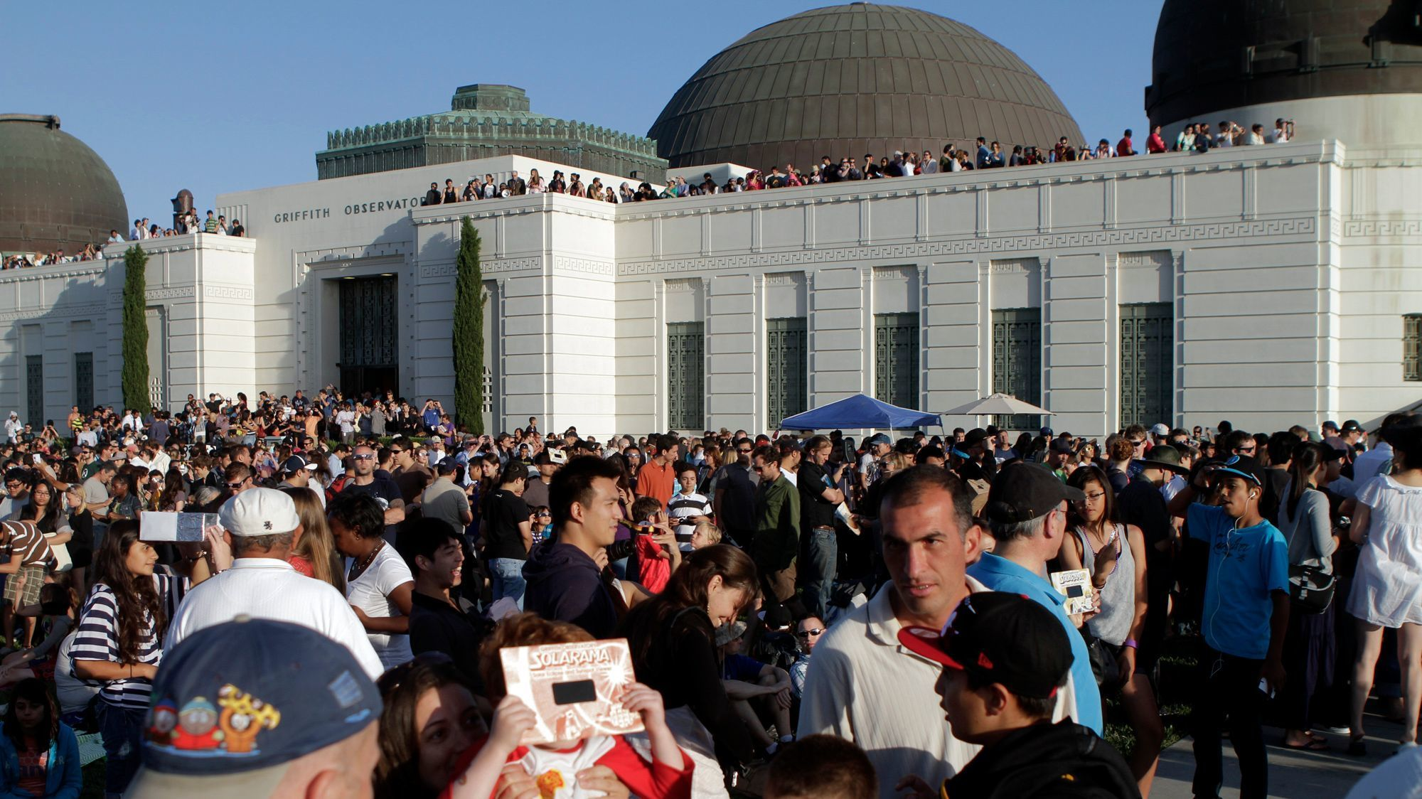A partial solar eclipse in 2012 drew an enthusiastic crowd to the Griffith observatory.