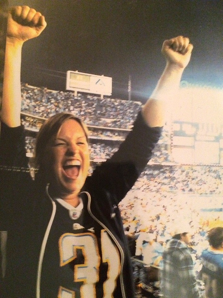The author cheering after the 2009 playoff win against the Colts.
