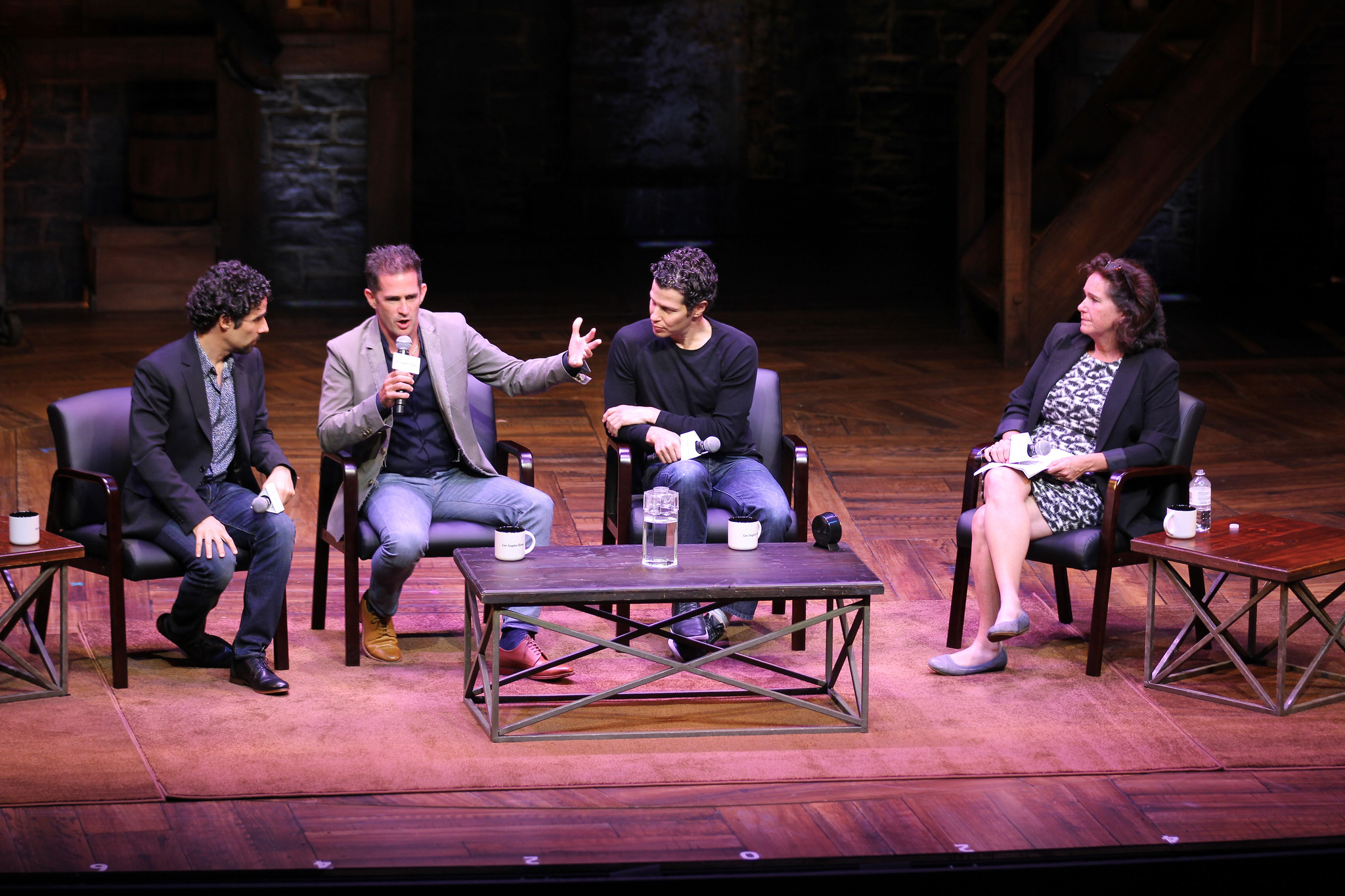"""Music supervisor Alex Lacamoire, left, choreographer Andy Blankenbuehler and director Thomas Kail from """"Hamilton"""" with The Times' Mary McNamara. (Los Angeles Times)"""