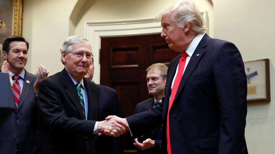 In February, when President Trump and Senate Majority Leader Mitch McConnell shook hands during a White House ceremony, they had high hopes for their legislative agenda. — Photograph: Carolyn Kaster/Associated Press.