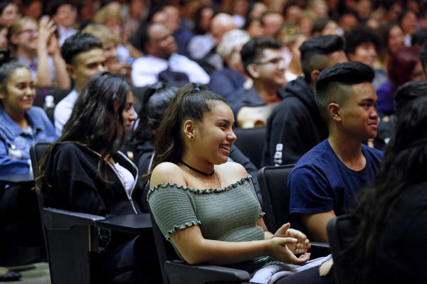 Stephanie Martinez, 16, a junior at Panorama High, along with other students listens to Lin-Manuel Miranda answer questions. (Gary Coronado / Los Angeles Times)