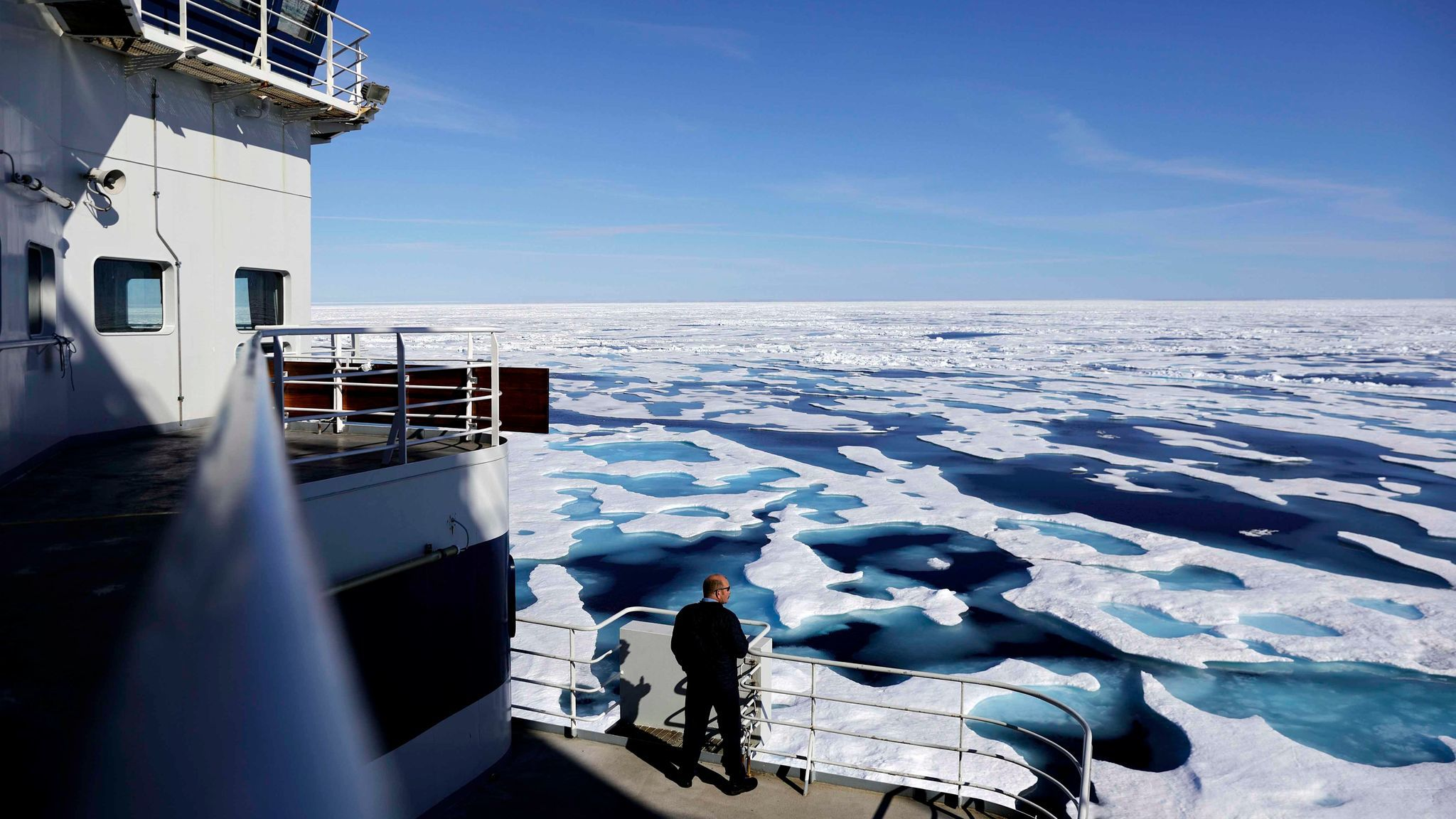 Finnish icebreaker MSV Nordica passes through Victoria Strait while transiting the Northwest Passage connecting the Pacific and Atlantic oceans earlier than had ever been recorded.