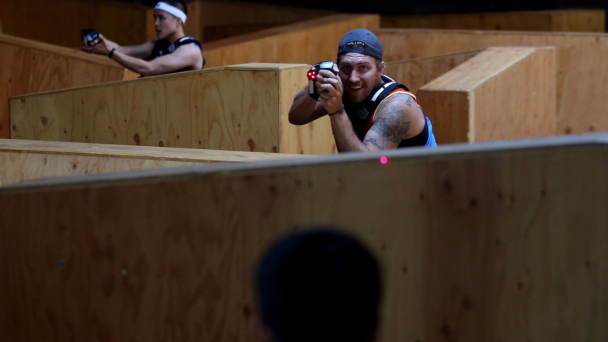 A round of laser tag at the LazRfit gym in downtown Los Angeles.