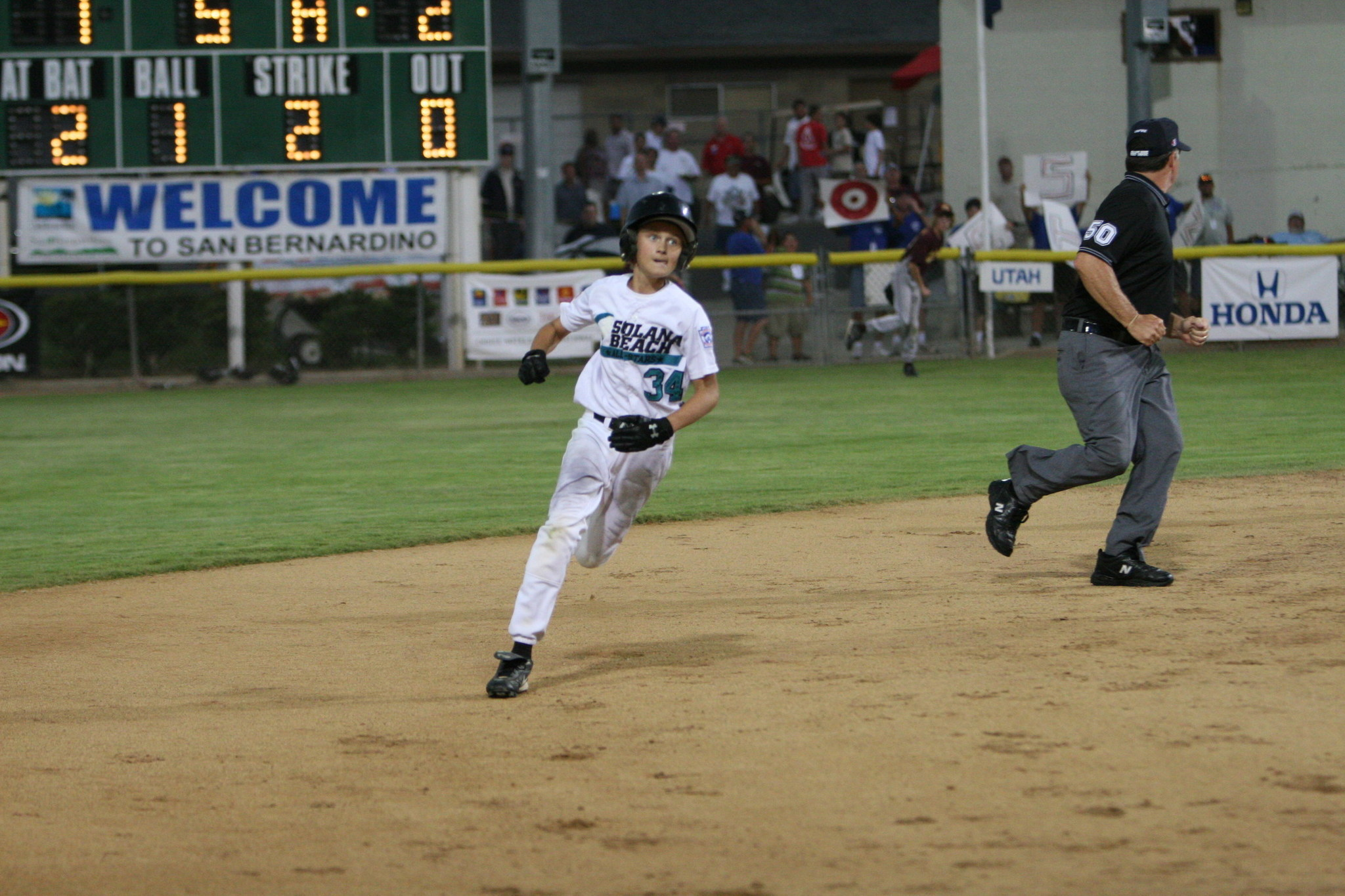 Solana Beach leadoff hitter Chad Thurston rounding the bases.
