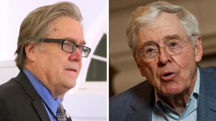 With the ouster last week of White House senior strategist Stephen K. Bannon, left, the influence of billionaire Charles Koch is likely to grow. (Associated Press, Getty Images) None