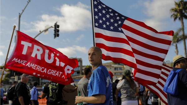 Counter-protesters swarm rally against illegal immigration in Laguna Beach