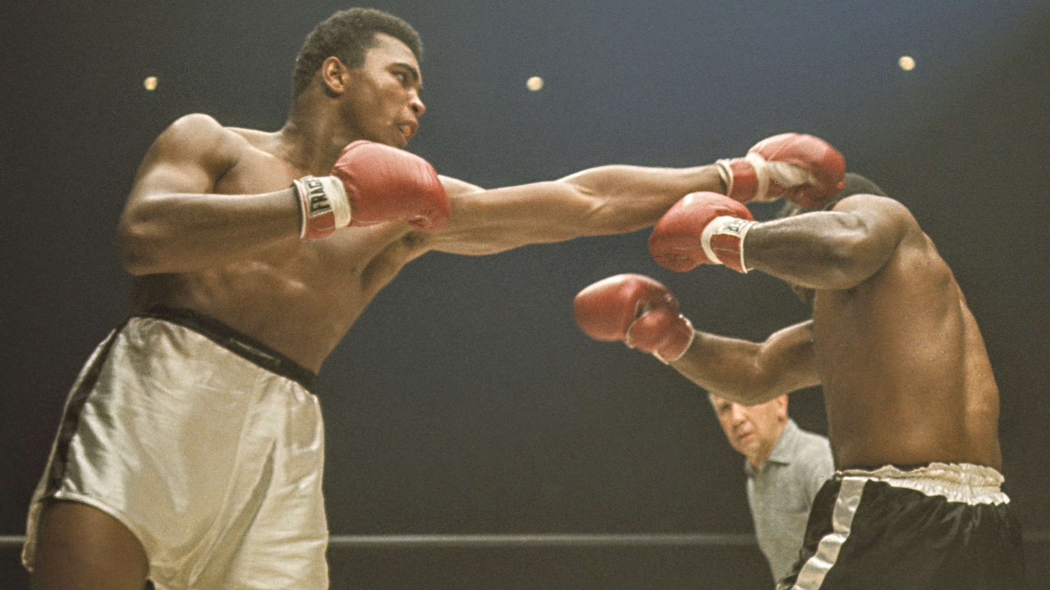 Muhammad Ali defeated Sonny Liston twice during the 1960s. This photograph is on display at the Bellagio Gallery of Fine Art.