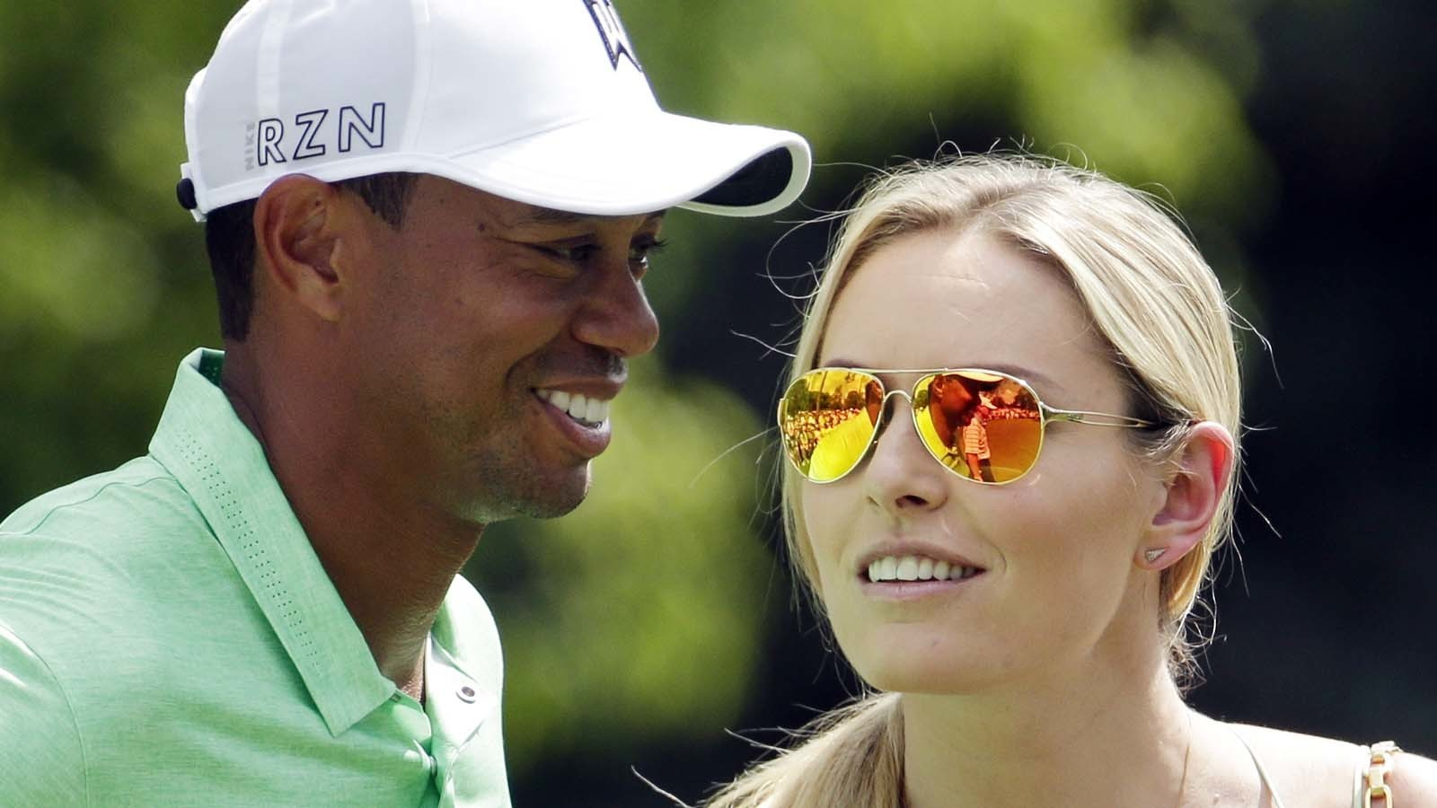 Tiger Woods and Lindsey Vonn in April 2015. (Charlie Riedel / Associated Press)