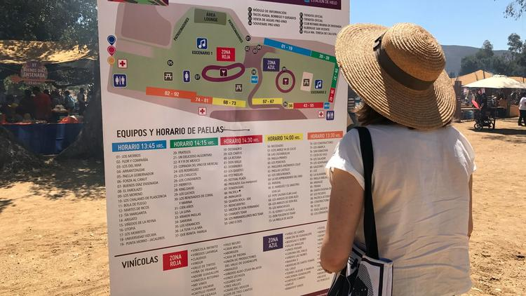 A woman looks at the mind-boggling list of paella teams, divided into time slots. Starting at 1:30 p