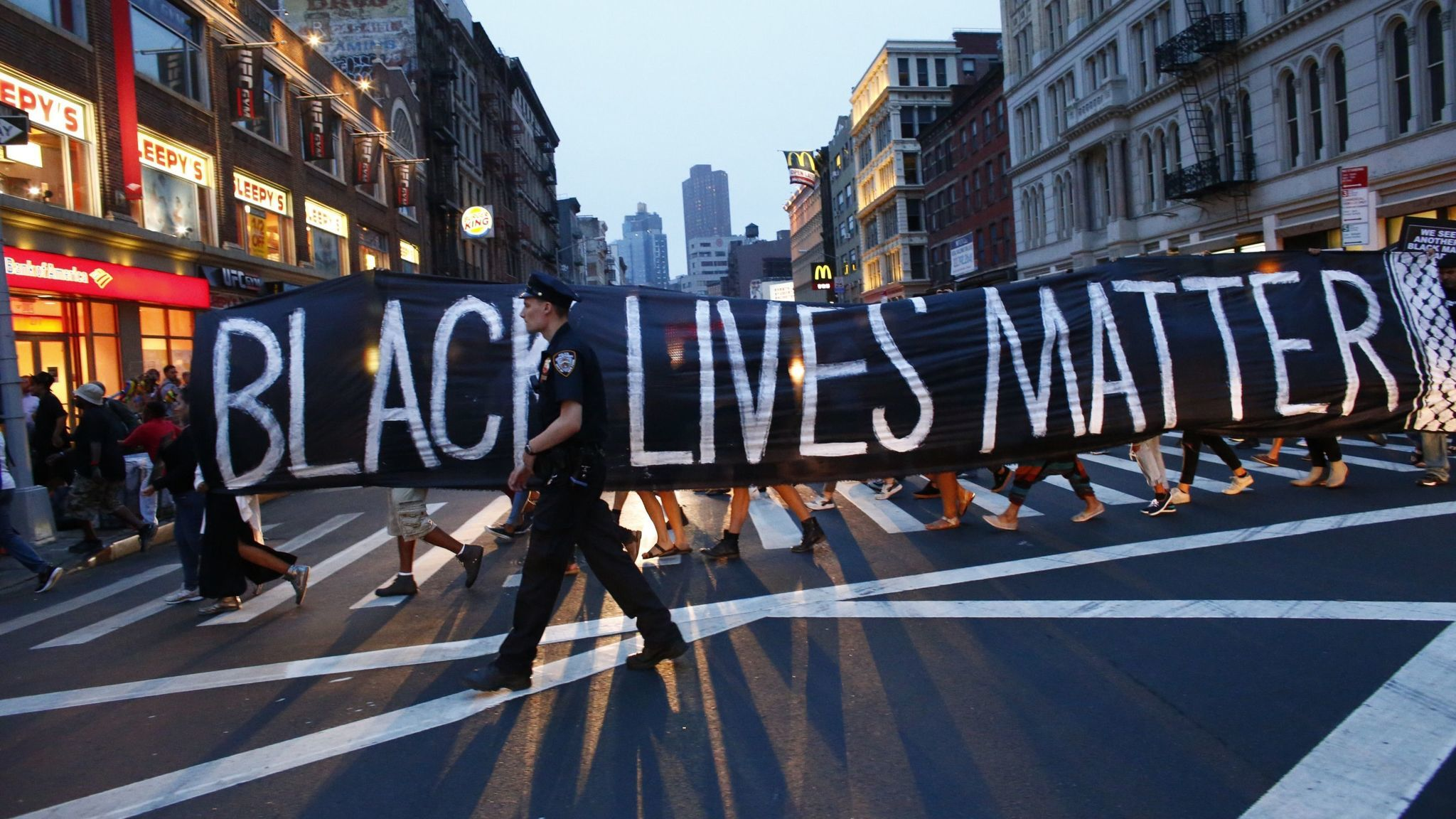 A 2016 protest in New York in support of the Black Lives Matter movement.
