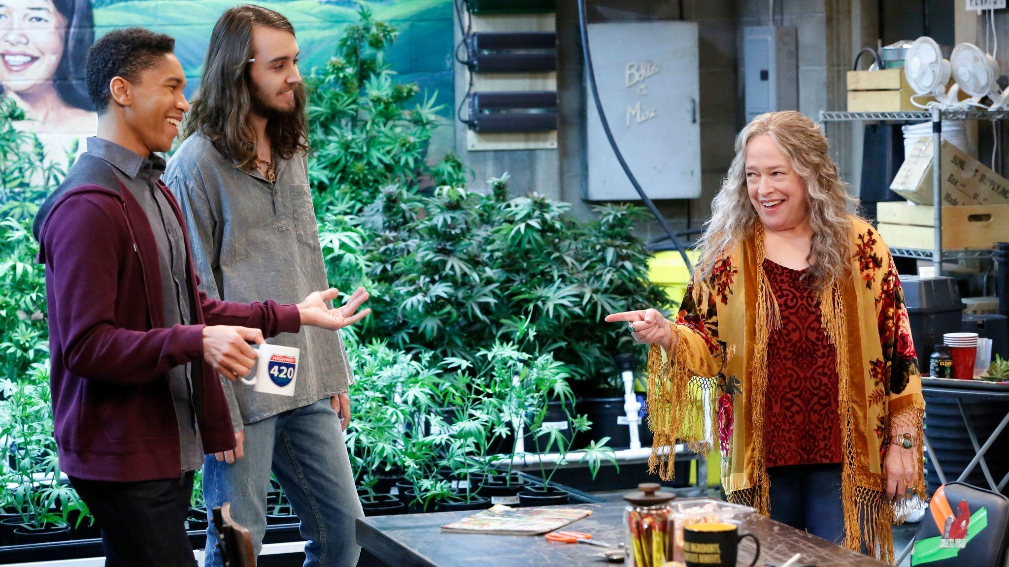 "Aaron Moten, left, Dougie Baldwin and Kathy Bates sell pot to Southern California in the new Netflix comedy ""Disjointed."" (Robert Voets / Netflix)"
